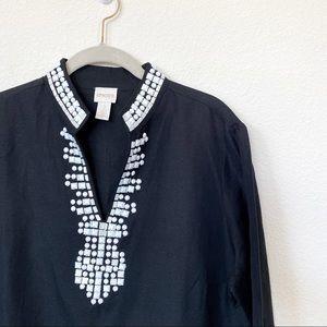 [Chico's] Black Linen Blend Beaded Neck Tunic Top